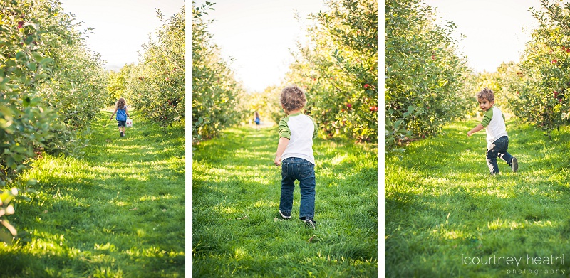 Brother and sister running through apple orchard
