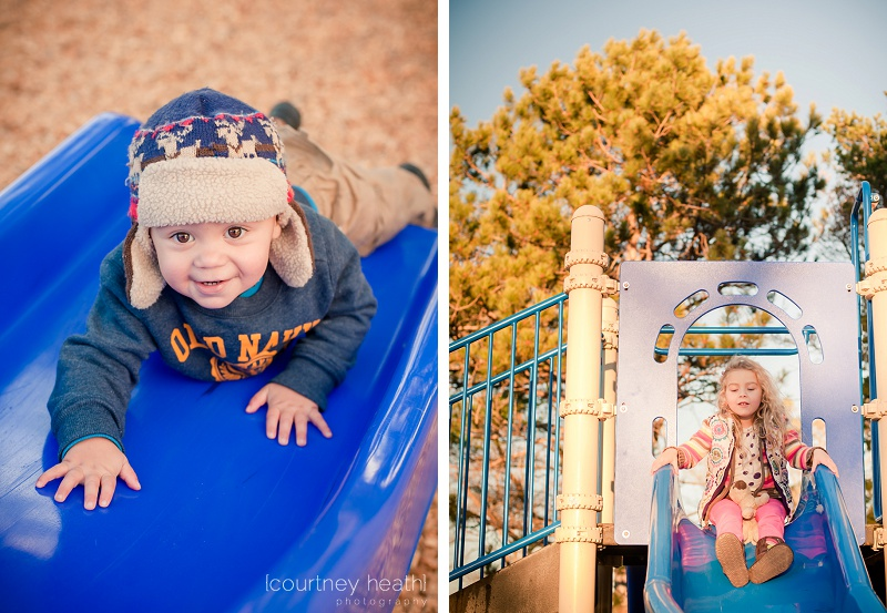 Siblings on a slide