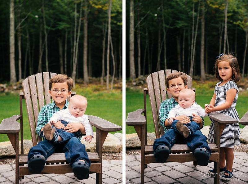 children sitting in Adirondack chair