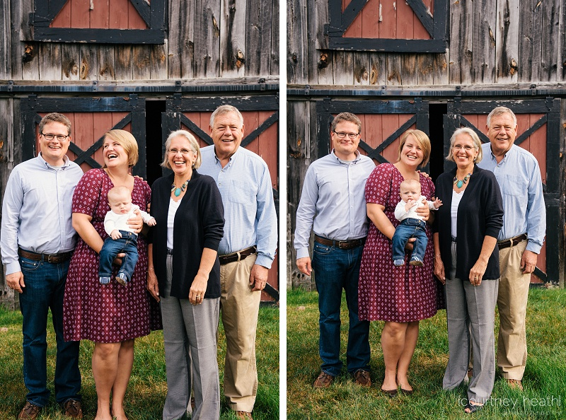 beautiful family in front of red barn door