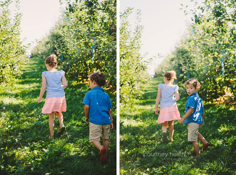 Brother and sister walking in an apple orchard