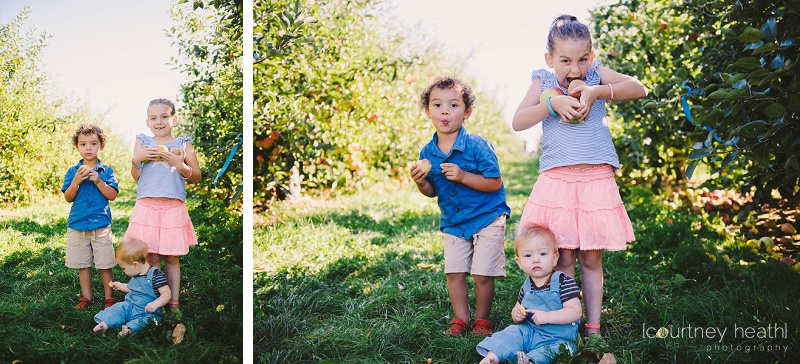 Silly kids at an apple orchard