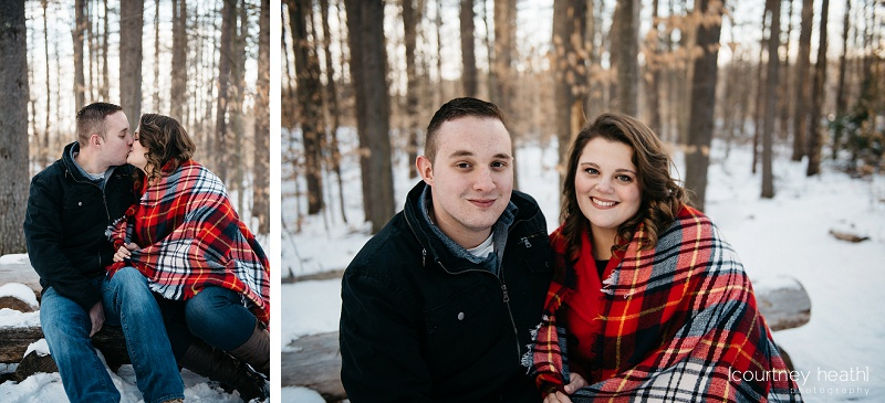 engagement photos in snowy NH woods