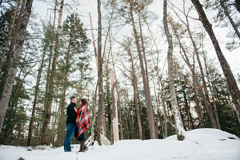 wide angle view of engaged couple in new hampshire woods tall trees