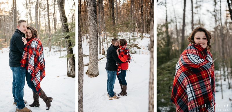 Red plaid in NH woods engagement session