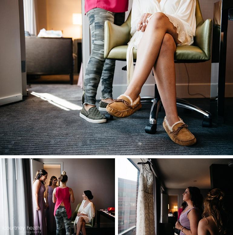 Bride wearing Ugg slippers and robe crossing her legs in chair Royal Sonesta Boston