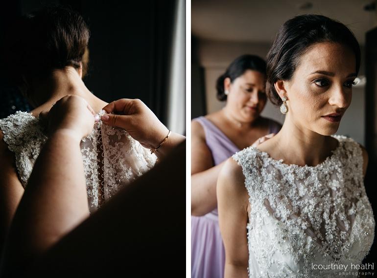 Matron of honor buttons bride's dress Royal Sonesta Boston