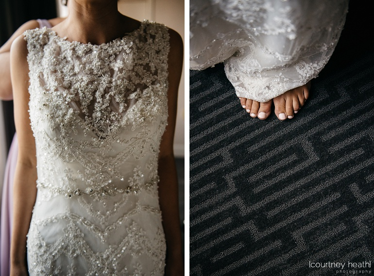 Bride's intricate wedding dress and pink toes underneath Royal Sonesta Boston