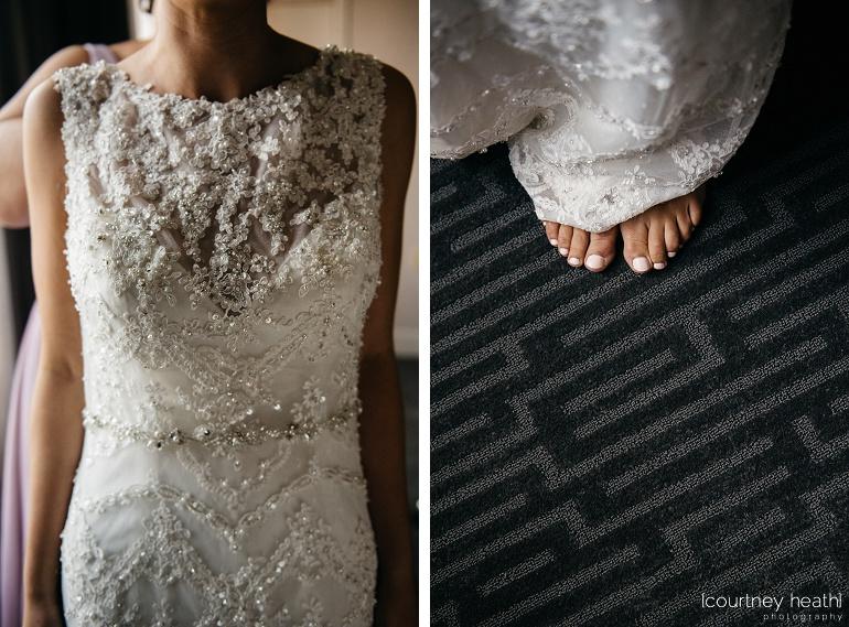 Bride's intricate wedding dress and pink toes underneath Royal Sonesta Boston