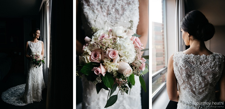 Gorgeous bride intricate wedding dress and beautiful bouquet Royal Sonesta Boston