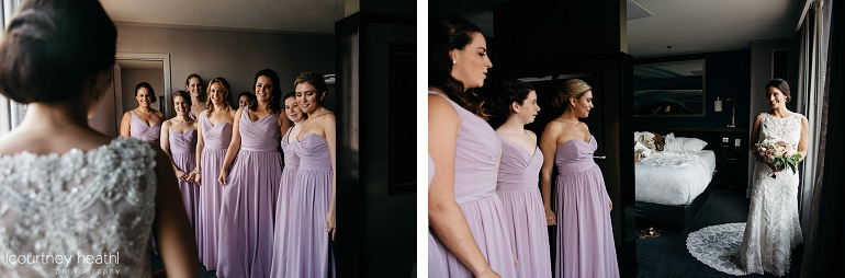 Bride and bridesmaids first look Royal Sonesta Boston