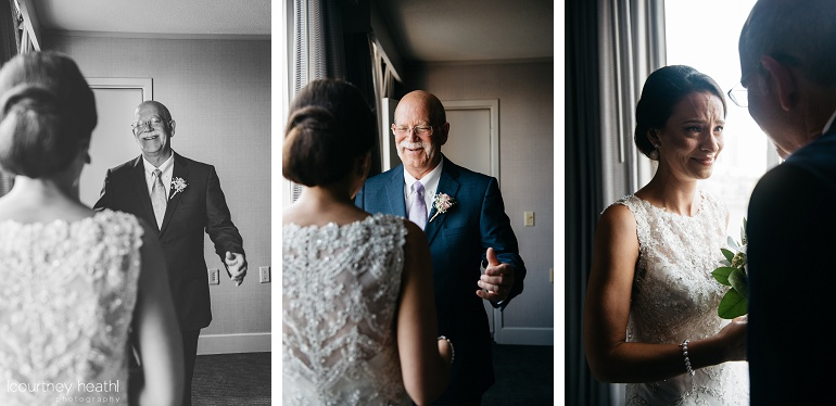 Bride and father first look tears Royal Sonesta Boston