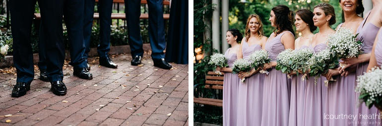 Groomsmen shoes and bridesmaids wait for bride to enter wedding ceremony