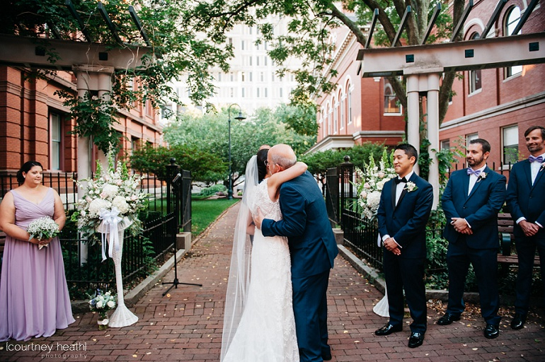 Bride's father hugs her before wedding ceremony