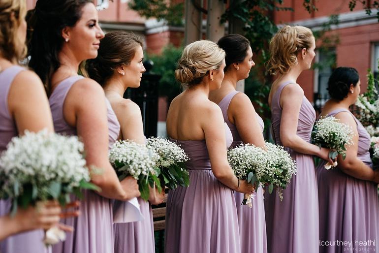 Bridesmaid's baby's breath bouquets