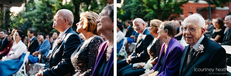 Bride's parents and grandparents smile during wedding ceremony