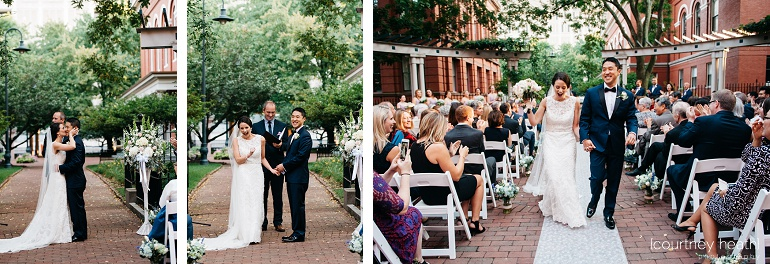 Bride and groom leave ceremony with big smiles at Cambridge Multicultural Arts Center