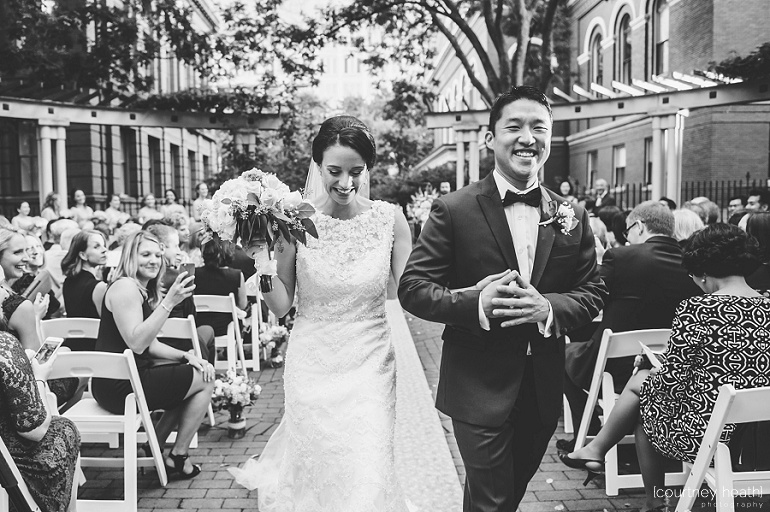Black and white image of bride and groom at Cambridge Multicultural Arts Center