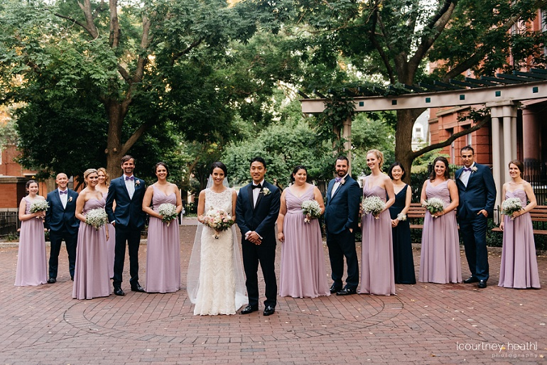 Wedding party in courtyard of Cambridge Multicultural Arts Center