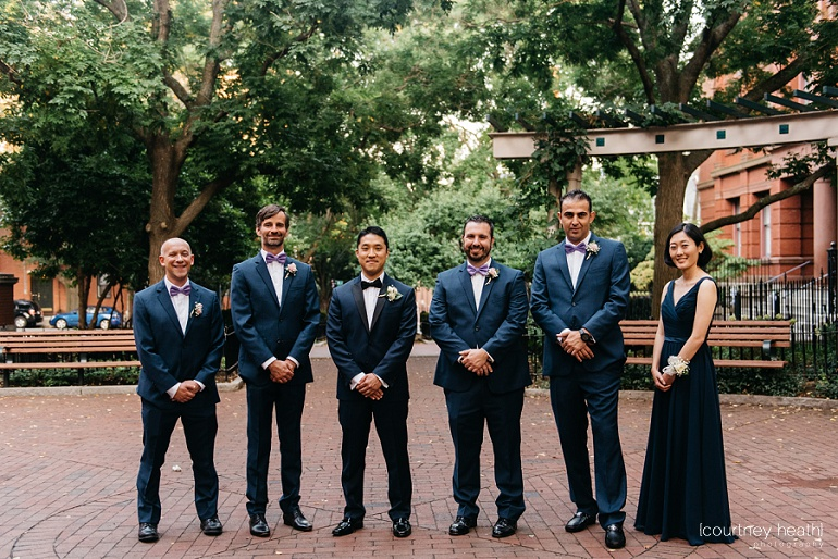 Groomsmen in courtyard of Cambridge Multicultural Arts Center