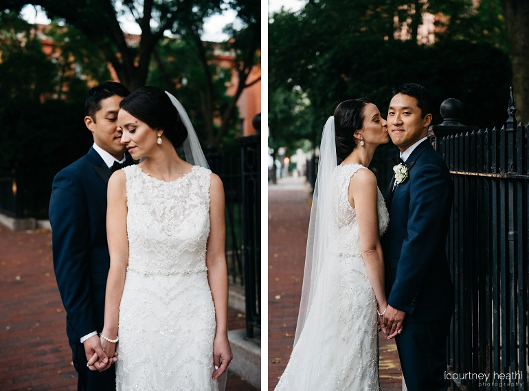Beautiful bride in lave dress with smirking groom Cambridge Multicultural Arts Center Boston