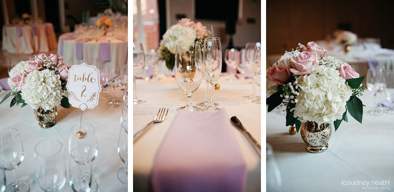 Wedding reception decor pink roses and baby's breath Cambridge Multicultural Arts Center Boston
