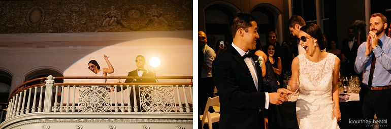 Bride and groom enter reception from balcony at Cambridge Multicultural Arts Center Boston