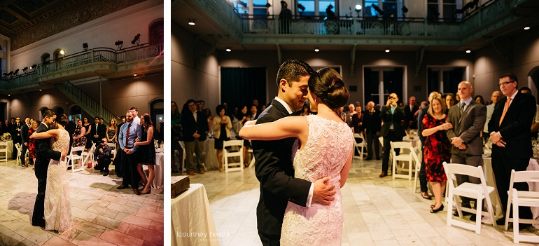 Bride and groom first dance Cambridge Multicultural Arts Center Boston