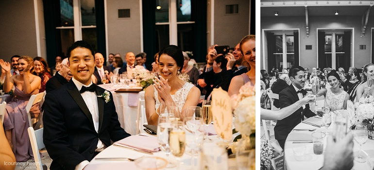 Wedding reception toast and smiling bride and groom Cambridge Multicultural Arts Center Boston