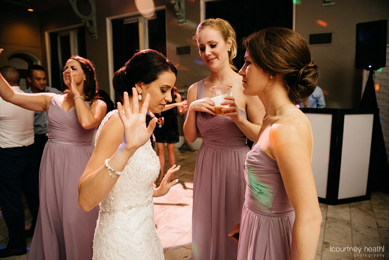 Bride dancing with bridesmaids Cambridge Multicultural Arts Center Boston