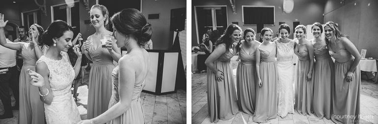 Bride with bridesmaids during wedding reception Cambridge Multicultural Arts Center Boston