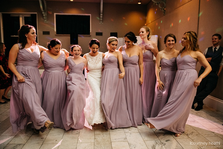 Bride and bridesmaids dancing Cambridge Multicultural Arts Center Boston